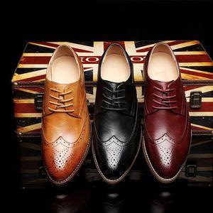 Genuine cow Leather Men formal shoes brogues elegant classic men oxford shoes #MP191-111