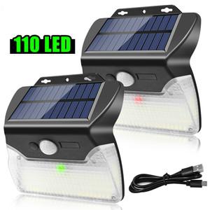 110 LED Solar Lights Outdoor Wireless Solar Movimento Light Sensor USB Carga 3 modos de iluminação impermeável para Wall Garden