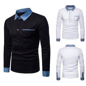 Рубашки Casual Solid Color Tops Плюс Размер Mens конструктора Tshirts способ Patchwork отворот шея длинный рукав Поло