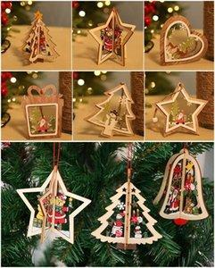 Santa Claus new year 3D natural wood christmas oranments pendant hanging gift Xmas tree home wedding party Christmas decoration