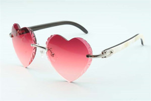 Direct sales new heart shaped cutting lens sunglasses 8300687, natural white & black hybrid buffalo horn temples size: 58-18-140 mm