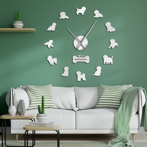 Bichon frize dog breed الصلصال diy ساعة الحائط الحديثة ساعة الحائط الحيوانات الأليفة ديكور كبير كبير ساعة ملصق 3d