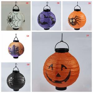 Carta Zucca di Halloween Spider Bat zucca LED Glow lampada lanterna pieghevole Hanging Lanterna cinese del partito decorazione di Halloween VT0623