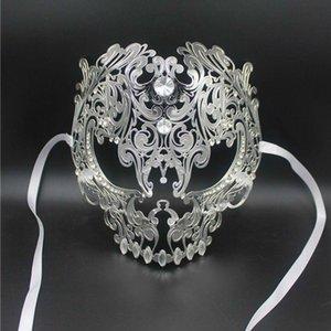 Black Full Face Skull Men Women Metal Laser Cut Silver Masquerade For Party Masks Gold Red Ball Rhinestone Prom Venetian Mask