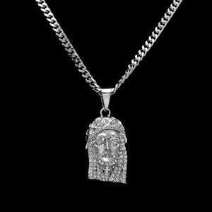 Mode-Hop-Halskette Iced Out JESUS-Stück-hängende Halskette mit 70cm Gold-Cuban-Kette