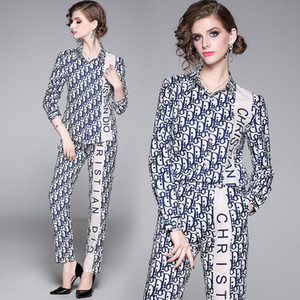 2020 das mulheres elegantes Designer Two Piece Define Carta Imprimir manga comprida camisas + calças compridas 2 pcs Plus Size Magro senhoras Runway Dois Pants Pedaço