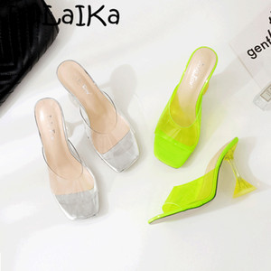 Sommer PVC Transparent Hausschuhe Mode Sexy Quadrat Kopf Damen Sandalen Wild Transparent Nagel High Heel Open Toe Bankettschuhe