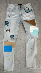 Yeni Geliş Erkek Tasarımcı Am-Jeans Klasik Düz Yama Kot Pantolon Ünlü Marka Fermuar Ebru dar paçalı Sıcak Üst Satış ABD boyutu 29-40