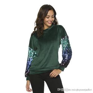 Fashion Designer Blouse European American New Style Womens Gradual Sequin Flannelette Fashion Solid T-Shirt Casual Female Clothes