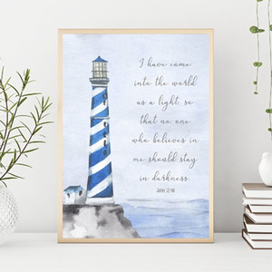 İncil Ayet İlham Plaj Deniz Dekor Hıristiyan Wall Art Poster Dekorasyon Boyama Tuval alıntı yazdır Lighthouse