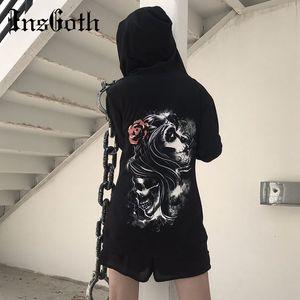 InsGoth Nero cranio ha stampato Felpe con cappuccio Donne gotico Streetwear Halloween Felpe Harajuku Estetica allentata Lady Pullover