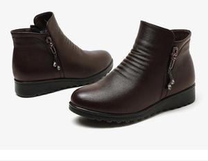 Зимний новый теплый плюс бархат круглая голова клина с плоским дном сапоги женщин среднего возраста хлопка обувь низкой пятки