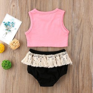 New Fashion USA Newborn Kids Baby Girls Clothes Vest Crop Top Tassels Shorts Outfits Clothes Summer