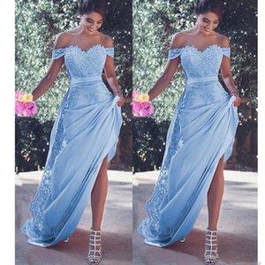 Light Blue Chiffon Mermaid Abendkleider Off-die-Schulter-SpitzeAppliques Sash Sweep Zug-Partei-Kleid Dubai-Arabien formales Abend