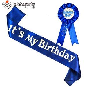 Suministros Broche Boy 20set feliz cumpleaños de la diversión del regalo del chica del cumpleaños Banda Conjunto rosa azul de las mujeres de los hombres Ribbonbadge 18 21 Adultos partido del acontecimiento