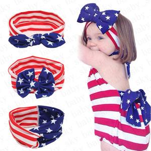 Девочки оголовьем Американский флаг уха кролика диапазона волос Национальный День независимости День Полосатый Звезда младенца Knotted оголовье аксессуары для волос D52704
