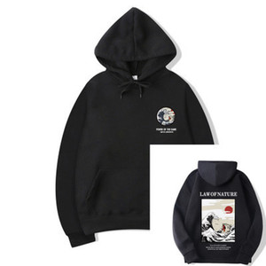 dos homens Hoodies Moda Mens com capuz Gato engraçado ondulada impressa Hoodie Hip Hop Casual Moletons Streetwear Asiático Tamanho S-3XL Atacado
