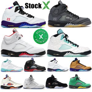 Nouveau Jordan 5 retro 5s V OG Mens Basketball Ciment Noir métallisé or blanc Blue Suede Shoes Olympic Sports Red Fire métalliques Sneakers US 7-13