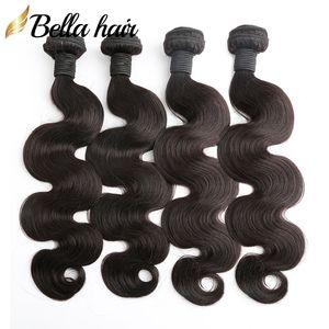 Brasiliani Capelli Bundles Human Hair Haives Weaves Extensions Body Wave Capelli Vergini Trama A buon mercato Malaysia Peruviano Indiano Doppia trama 4pc Bellahair