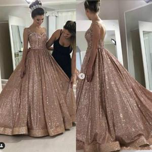 2020 Modern Rose Gold Africano reflexivo Evening Dresses frisados Cristais Backless lantejoulas Prom Vestidos Sparkly formal do partido vestido Homecoming