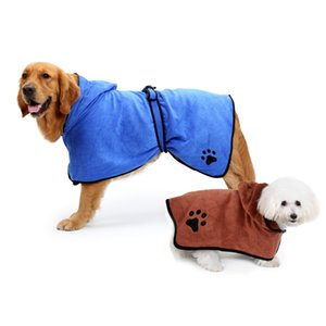 Top XS-XL Pet Bathrobe Warm Clothes Super Absorbent Drying Towel Embroidery Paw Cat Dog Hood Bath Grooming Pet Product