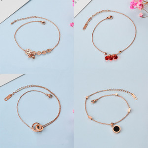2019 new trend Japanese and Korean version of copper money bells sexy letters titanium steel anklet female rose gold multi-layer bow peach h