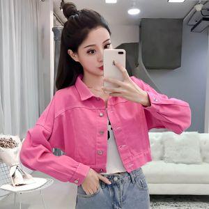 yaka aşağı cady renk sevimli dönüş 2020 bahar yeni kadın kot kot uzun kısa ceket palto artı boyutu S M L XL manşonlu