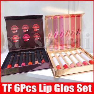 6pcs / set tubo preto Branco Matte Lipstick líquido rouge um lèvre TF Maquiagem Lip Gloss Lacquer Patent Lipgloss Set