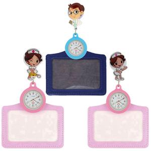 моды 2 в 1 женщины мужчины дамы врач медсестра 3D мультфильма милые карманные часы с рулеткой держатель имя карты Выдвижной подарочные часы