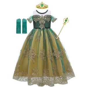Disfraces de encaje de tul vestido de Anna 3styles verde para Summer Girl Snow Queen princesa de fantasía 2-10T fiesta de cumpleaños de los niños del vestido de Fluffly Por Epacket
