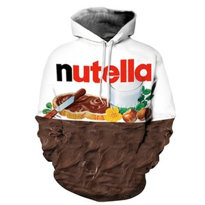 Foreign Trade 3D Western Breakfast Chocolate Printed Hat Pocket Cover Men's Tidal Hat and Men's Wear Blouse hoodies