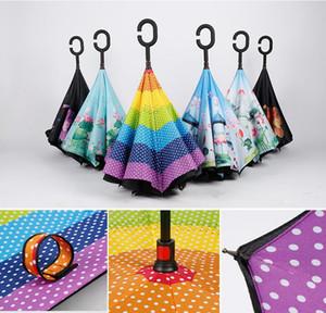 C-Kol Çift Katmanlı Ters Şemsiye Dış Mekan Aile İçi Out Windproof Şemsiye Araç Ters Katlama Şemsiyeler DDA47 Standı