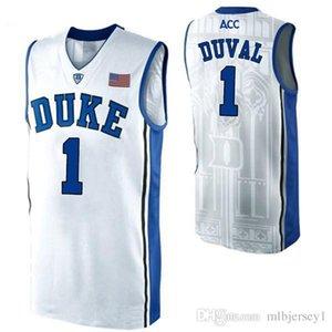 # 1 Trevon Duval Duke Blue Devils Weiß schwarz Bule College Basketball Jersey Retro Top genäht embroide Name und Nummer XS-6XL Weste Trikots