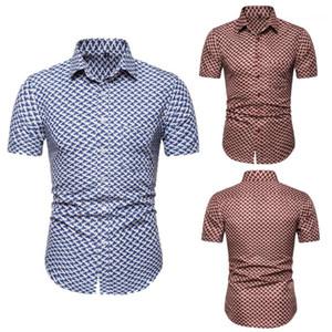 Рубашки Мода тонкий дышащий с коротким рукавом рубашки мужские Summer Beach Vacation Tops Цветочные Printed Mens конструктора