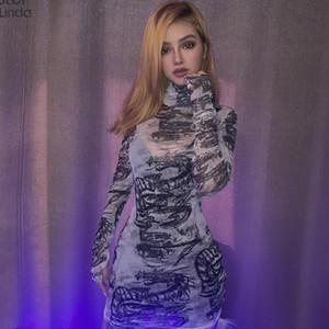 Sisterlinda материал сетки Bodycon мини-платье Женская водолазка прозрачная Дракон печати платье 2020 осень узкие платья