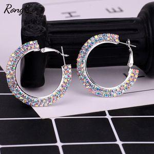 Hoop RongXing Vintage Red Blue White Rainbow Zircon Round Hoop Earrings For Women Silver Color Circle Earrings Ladies Party Jewelry