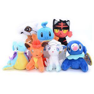 "Top New 7 estilos 4.3"" Presentes 11CM Alola Vulpix Litten Popplio Mudkip Cubone Vulpix Lapras Plush Doll Anime Stuffed Pingentes brinquedos macios"