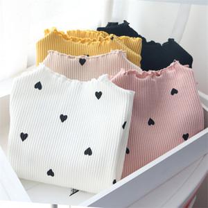 2018 New Winter Baby Girls de manga larga o-cuello corazón corazón camiseta T-shirt algodón camiseta de manga larga para niños