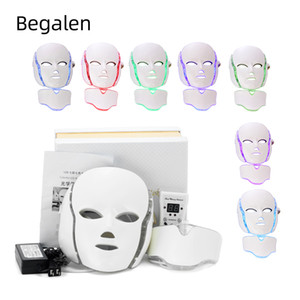7 Colors Light LED Facial Mask With Neck Skin Rejuvenation Face Care Treatment Beauty Anti Acne Therapy Whitening Instrument
