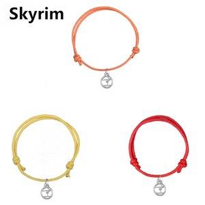 Skyrim ajustável Cord Wax Pulseiras Olympic Gymnastics Charm Bracelet Corda Corrente Com Rodada Floating jóias pingente 10pcs presente