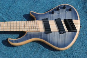 electric guitar bass neck thru body ,gray flame grain.black parts,6 string maple neck and fingerboard , free shippinng!