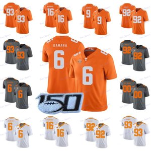Пользовательские Теннесси Волонтеры # 6 Элвин Камара 16 Peyton Manning 1 Джейсон Виттена 14 Эрик Берри Оранжевый Серый Белый 2020 NCAA Football Вольс Джерси