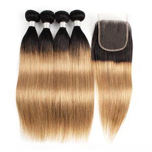 Gerade Körper-Wellen-Tief Curly Wasser Welle Haar-Verlängerungen 1B27 Ombre Honig blonde Menschenhaar-Bündel mit Verschluss 3 oder 4 Bundles peruanisch