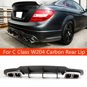 For C63 style real carbon fiber car rear lip spoiler diffuser for benz C CLASS W204 AMG Cutout Blade Style Rear Bumper 2012-2014
