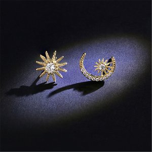 Orecchini asimmetrici Star Moon per donna S925 Silver Needle Orecchini stile giapponese Fashion Glamour Elegant Lady EarringsStud