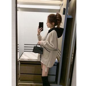 Casual Hooded Sweatshirts Women Loose Contrast Color Hoodies Tops O-Neck Large Size Long Sweatshirts
