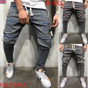Gym Mens Trousers Plaid Tracksuit Bottoms Skinny Joggers Sweat Track Pants