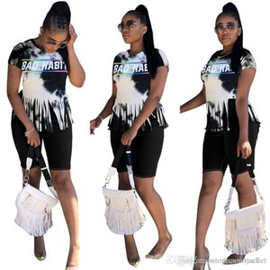 Tie Dyed 2 Piece Women Set Casual Tassel Letter Print Crew Neck Knee Length Jumpsuits Women Tracksuits