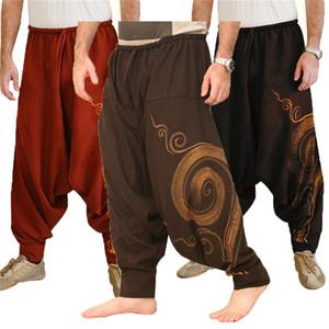 Homens Vintage Calças Harem Elastic Casual Baggy Yoga Harem Pants Hip-hop Homens Gypsy Algodão Linho Wide-legged solto com cordão