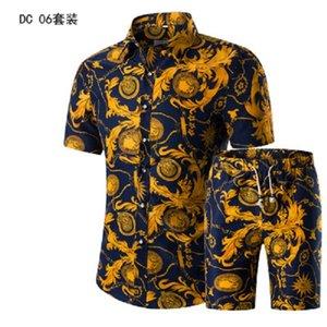 Рубашки Летняя мода Цветочные печати Рубашки Мужчины + шорты Set Мужчины с коротким рукавом Повседневная Мужская одежда Комплекты Tracksuit Плюс Размер 5XL